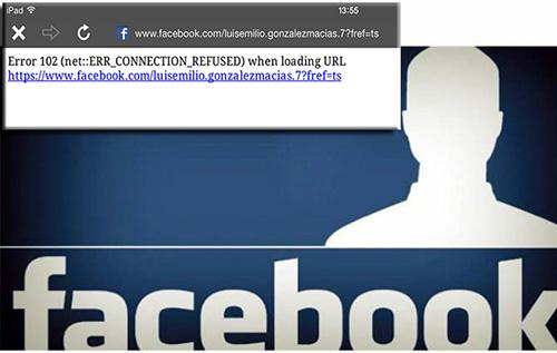 Facebook reporte de falla 102