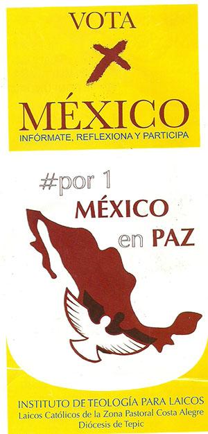 Folleto del Instituto de Teología para Laicos de la Diócesis de Tepic invitando a votar