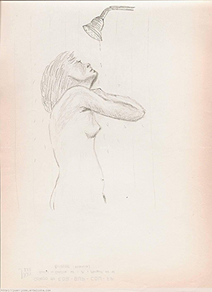 Mujer en la ducha | Dibujo a lápiz, carboncillo de Juan José Coll Esplugues