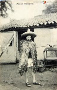 Capote de palma impermeabilizado para el agua hacia el año 1920